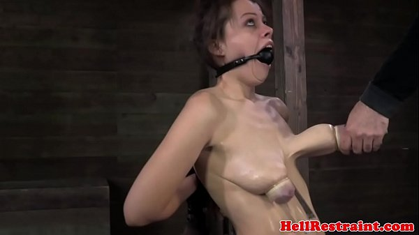 Ballgagged BDSM fetish sub tits pumped